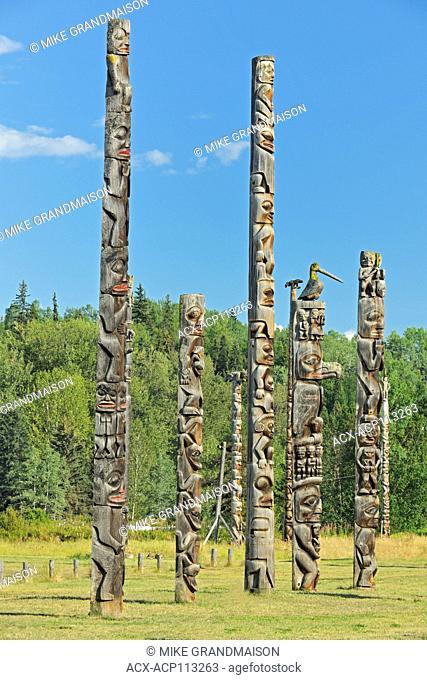 Kitwanga Totem Poles. Gitwangak or Gitwangax. Gitanyow. Gitksan people. Northwest Coast First Nations. Nass Range of mountains , Kitwanga, British Columbia