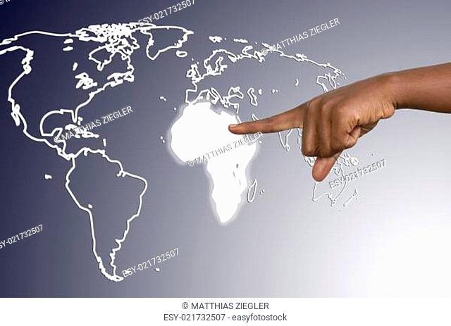 Finger berührt Afrikakarte