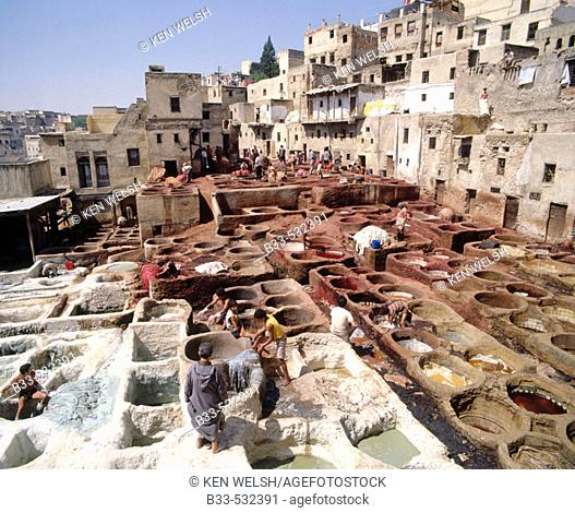 The dyeing pots in the Tanners'quarter. Fes. Morocco