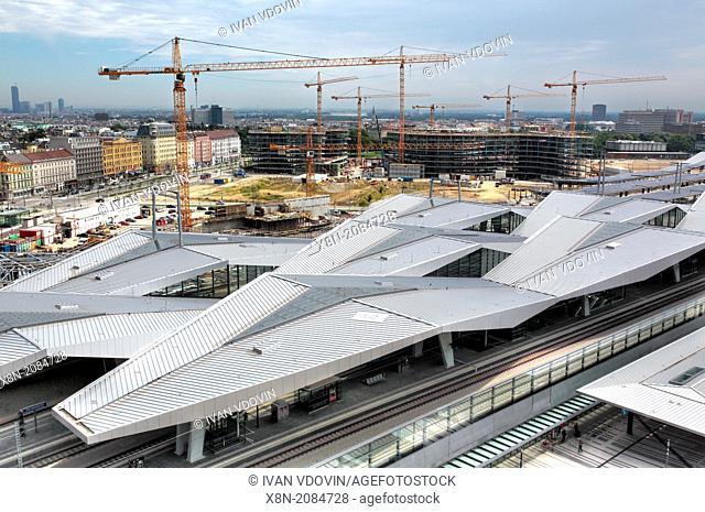 Construction of Wien Hauptbahnhof (Central train station), Vienna, Austria