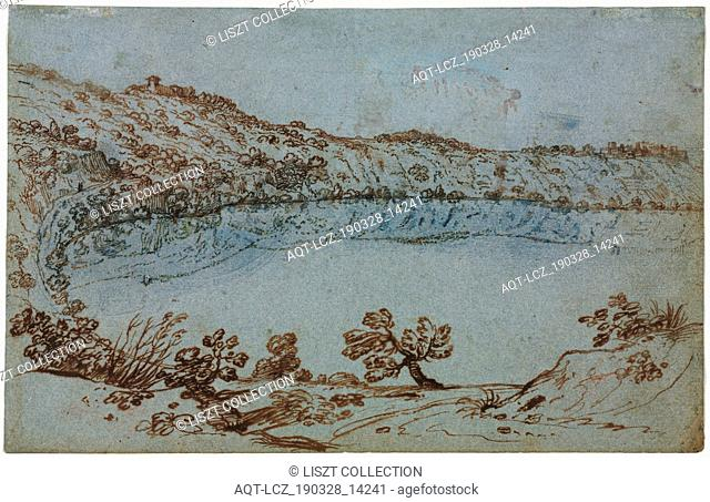 View of Lake Nemi (recto) Small Group of Roman Ruins (verso), c. 1650. Italy, 17th century. Pen and brown ink with brush and blue wash (discolored to green in...