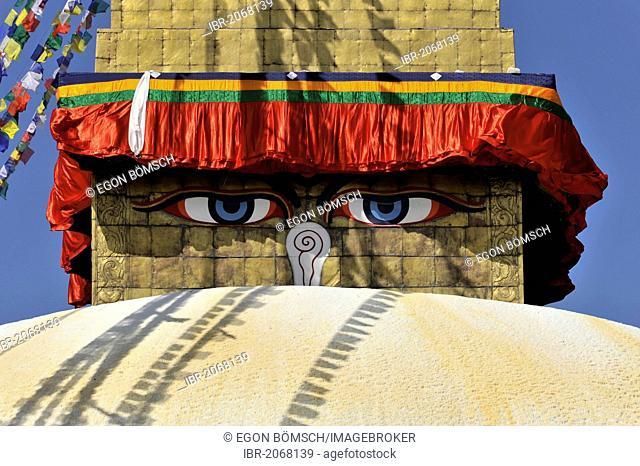 Bodnath, Boudhanath or Boudha Stupa, UNESCO World Heritage Site, painted eyes, colourful prayer flags, Tibetan Buddhism, Kathmandu, Kathmandu Valley, Nepal