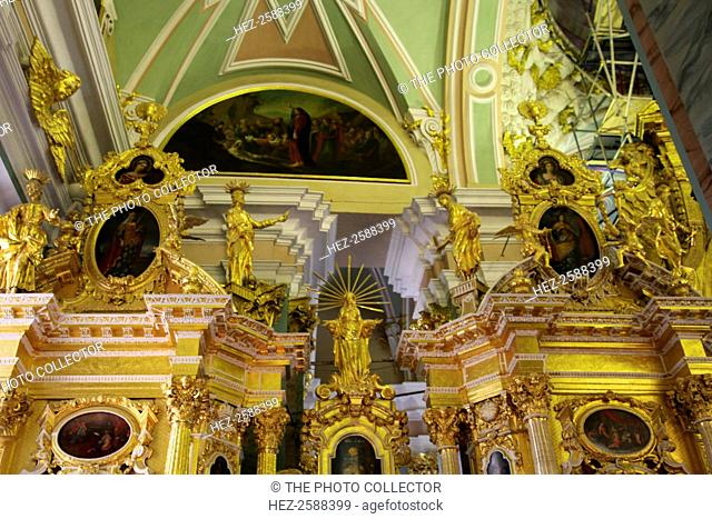 Upper portion of the iconostasis, Peter and Paul Cathedral, St Petersburg, Russia, 2011. The cathedral, which was built between 1712 and 1733