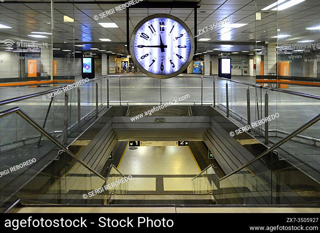 Catalonia train station, Barcelona Catalonia Spain. The Catalonia square station practically without passengers due to the total confinement of the Spanish...