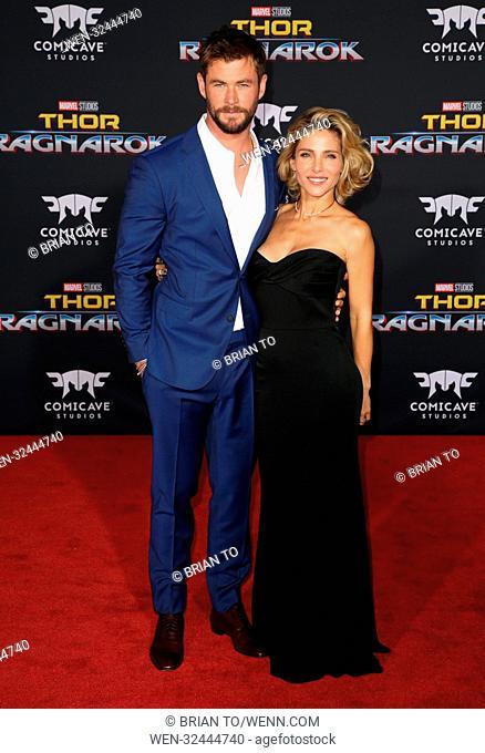 Celebrities attend 'Thor: Ragnarok' Film Premiere at El Capitan Theatre in Hollywood. Featuring: Chris Hemsworth, Elsa Pataky Where: Los Angeles, California