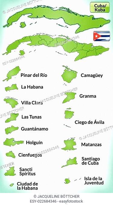 Karte von Kuba mit Grenzen in Grün