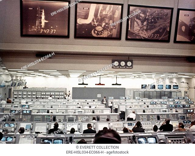 NASA Launch Control during Apollo 8, the first manned mission to the Moon. Astronauts Frank Borman, William Anders, and James Lovell performed a shake down...