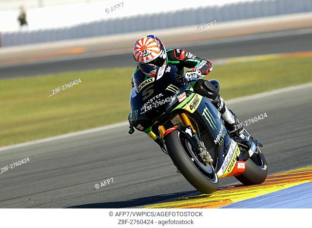5 Johann Zarco of France and Monster Yamaha Tech 3 rounds the bend during the MotoGP Testing - 2017 Seasson at Circuit of Valencia Ricardo Tormo on November 15