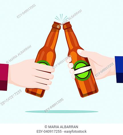 People celebrating with beer bottles and blue background. Vector illustration