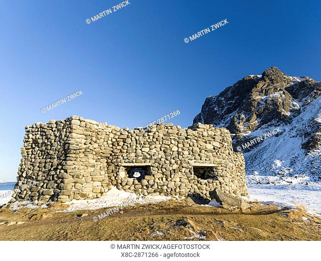German Radar station Borga dating back to WW2 at Eggum Beach, island Vestvagoy. The Lofoten islands in northern Norway during winter