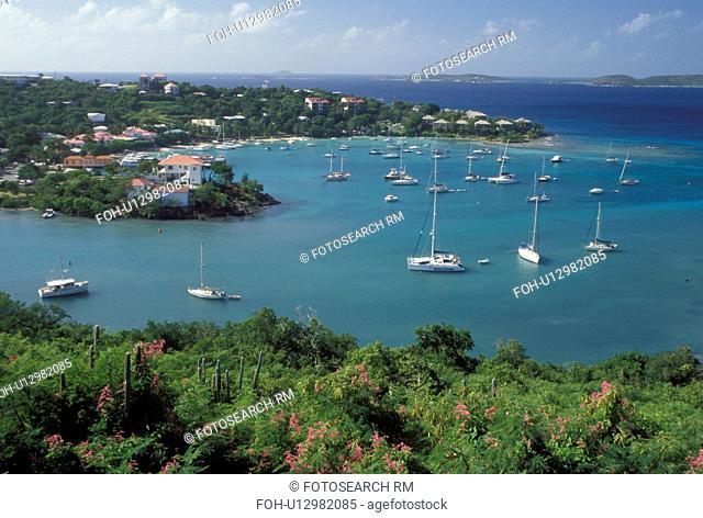 U.S. Virgin Islands, St. John, Caribbean, USVI, Scenic view of Cruz Bay on Saint John Island