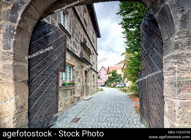 Half-timbered house, former salt store, house facade, architecture, Forchheim, Upper Franconia, Bavaria, Germany, Europe