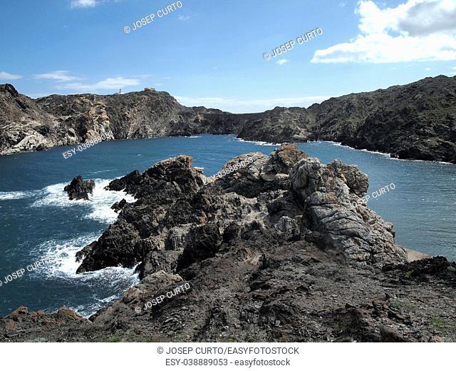 Landscape of Cap de Creus ( In the background is the lighthouse) provine, Catalonia, Spain