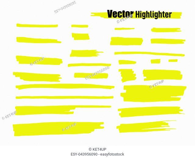 Vector highlighter brush set. Hand drawn yellow highlight marker stripes