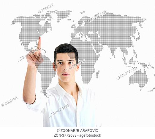 illustration of young business man planing and solving problems with illustrated graph disply screen for database and statistycs