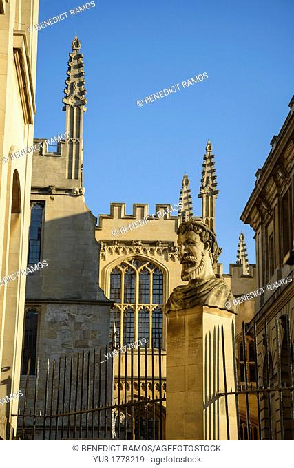 University of Oxford by the Bodleian Library and Sheldonian, Oxford, England, UK