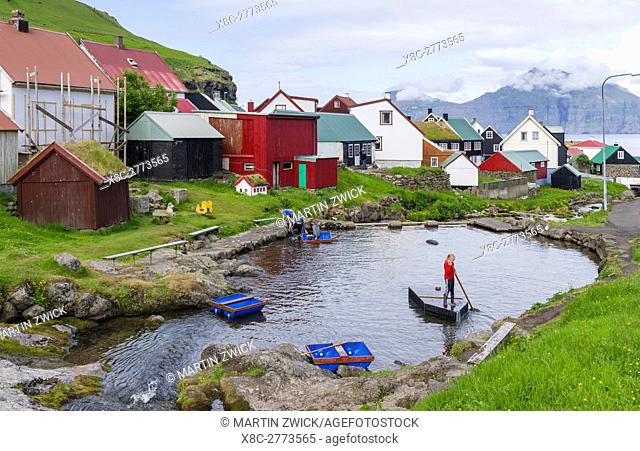 Village Gjogv. The island Eysturoy one of the two large islands of the Faroe Islands in the North Atlantic. Europe, Northern Europe, Denmark, Faroe Islands