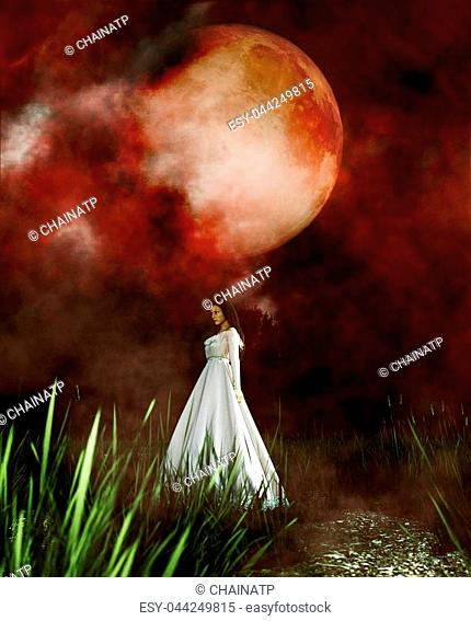 Ghost woman in white dress in Creepy forest, 3d illustration