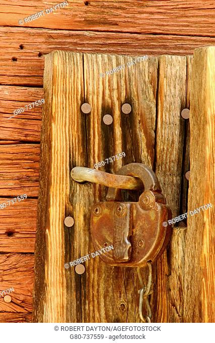 A lock on an old building in the Silver City Ghost Town in Southern California, USA