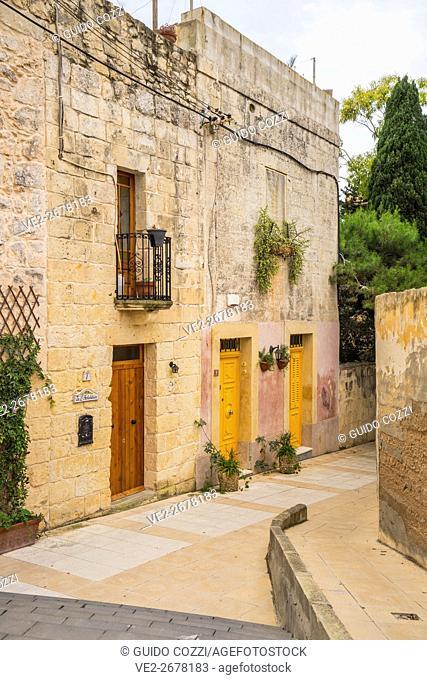Malta. Rabat, houses near St Paul's catacomb