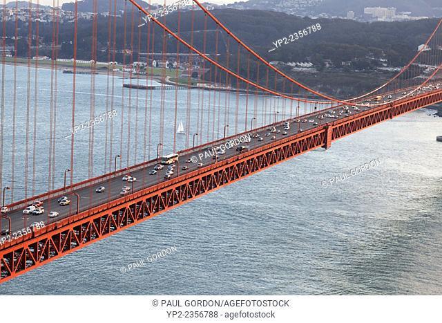Central span of the Golden Gate Bridge - San Francisco Bay, San Francisco, San Francisco County, California, USA