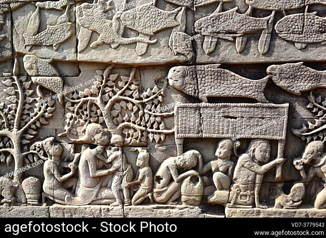 Bayon, buddhist temple of the Khmer Empire (12th century). Engravets. Angkor Thom, Siem Reap, Cambodia