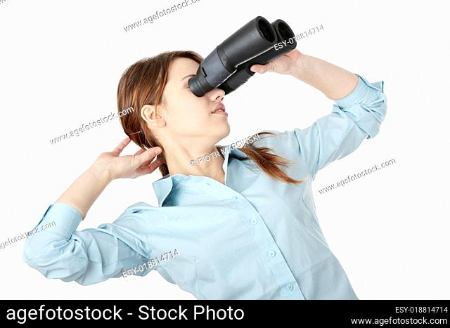 Young businesswoman with binocular