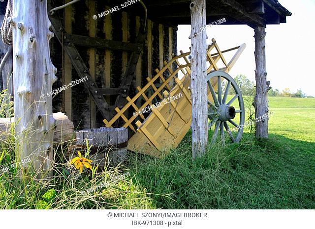 Hut and wooden cart, Fort de Chartres State Historic Site, Illinois, USA