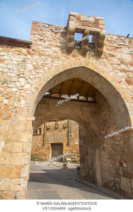 Medieval arch. Ayllon, Segovia province, Castilla Leon, Spain