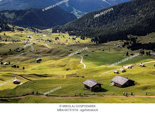 Europe, Italy, Alps, Dolomites, Mountains, South Tyrol, Val Gardena, View from Seceda