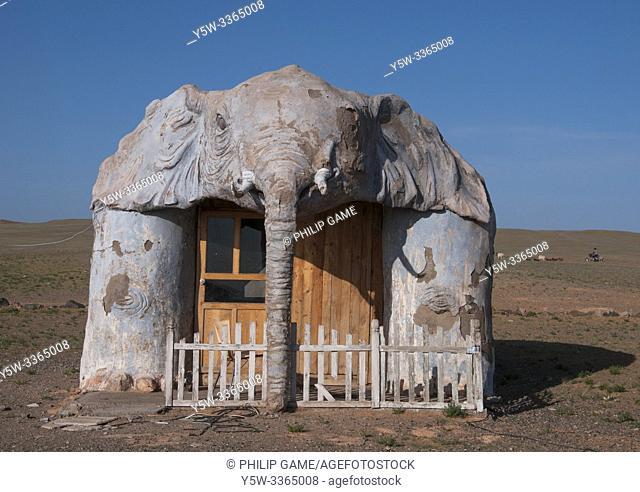 'Mastodon cabin' at Meekhi Tourist Camp, Bayanzag (Flaming Cliffs), Gobi Desert, Mongolia