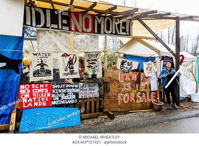 Camp Cloud squat at Blockade of Kinder Morgan Pipeline entrance, Burnaby Mountain, Burnaby, British Columbia, Canada