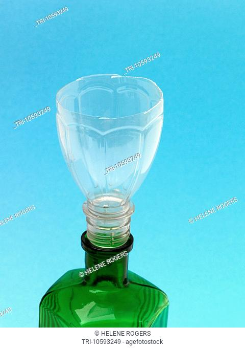 Funnel made from Plastic Bottle and green Glass Bottle