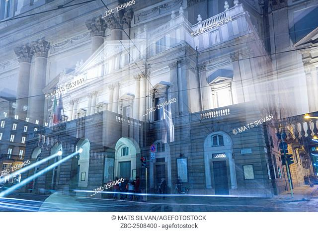 Scala theater in an artistic way in Milan, Italy