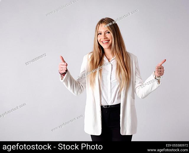 Young business woman with positive attitude