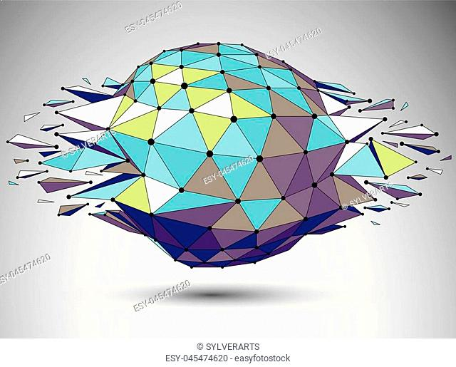 Vector dimensional colorful wireframe object, demolished shape with refractions and wreckage. 3d mesh digital technology element broken into pieces