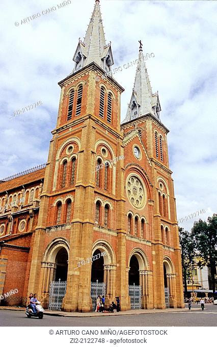 Saigon Notre-Dame Basilica, XIX century. Ho Chi Minh City, formerly named Saigon, Vietnam