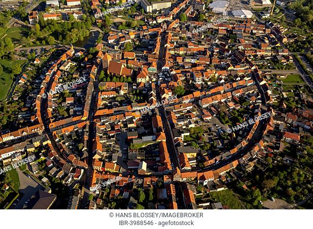City walls and a circular town layout of the historic city of Teterow, Mecklenburg Lake District, Mecklenburg-Western Pomerania, Germany