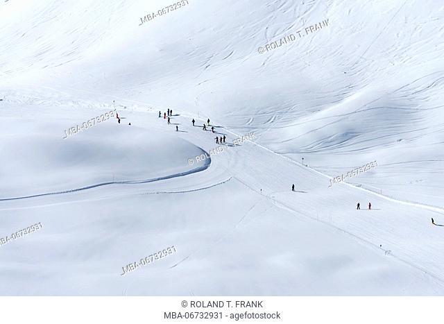 Austria, Montafon, skiing area Silvretta Montafon, ski runway on the Hochjoch
