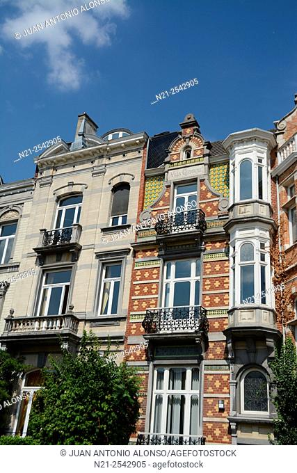 Art Nouveu style Villa Germaine building -in the middle-. Brussels, Belgium, Europe