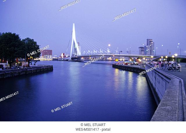 Fullmoon over Rotterdam, Erasmusbrug, Zuid-Holland, Netherlands