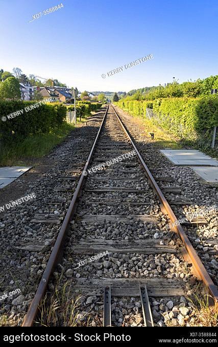 Europe, Luxembourg, Colmar-Berg, Railway Line near Rue de Mertzig