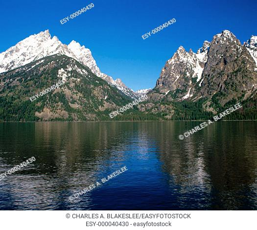 Teewinot Mountain and Cascade Canyon from Jenny Lake. Grand Teton National Park. Wyoming. USA