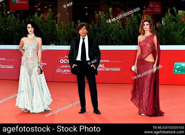 "Antonio Giulio Grande, Letizia Rocconi, Irina Forostiana attends the red carpet of the movie """"Fortuna"""" during the 15th Rome Film Festival on October 19"