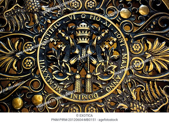 Details of a gate at St. Peter's Basilica, Vatican City, Rome, Lazio, Italy
