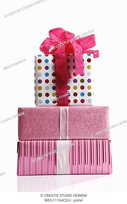 Stacked gift parcels