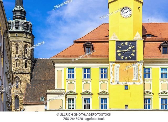 View of St. Peter's Cathedral and Townhall of Bautzen, Saxony, Germany