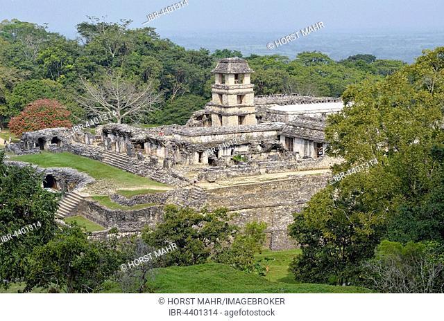 Palace El Palacio, Mayan ruins of Palenque, Palenque, Chiapas, Mexico