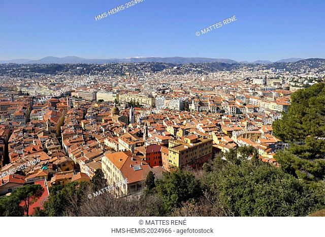 France, Alpes-Maritimes, Nice, the old town from the castle hill