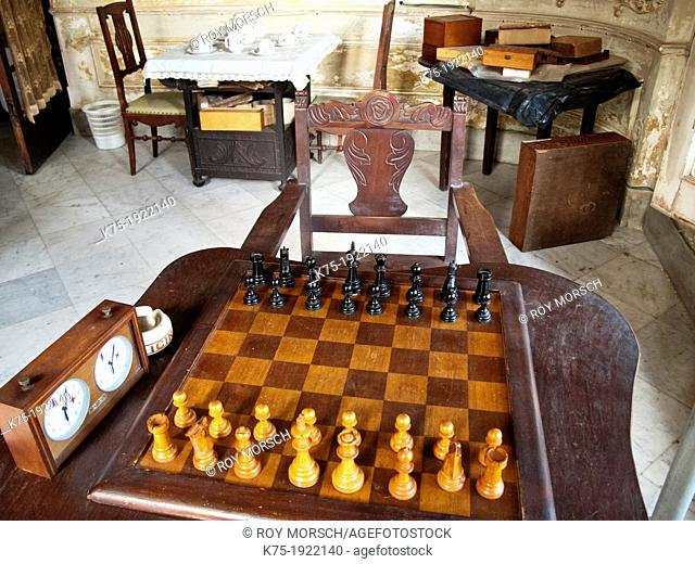 Living room with chess set in old mansion